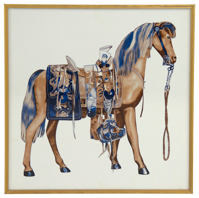 Beige Arabian Horse With Blue Mane Art Print Gold Frame Traditional Prints And Posters By Zentique Inc Houzz