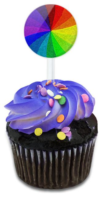 Rainbow Swirl Cupcake Toppers Picks Set.