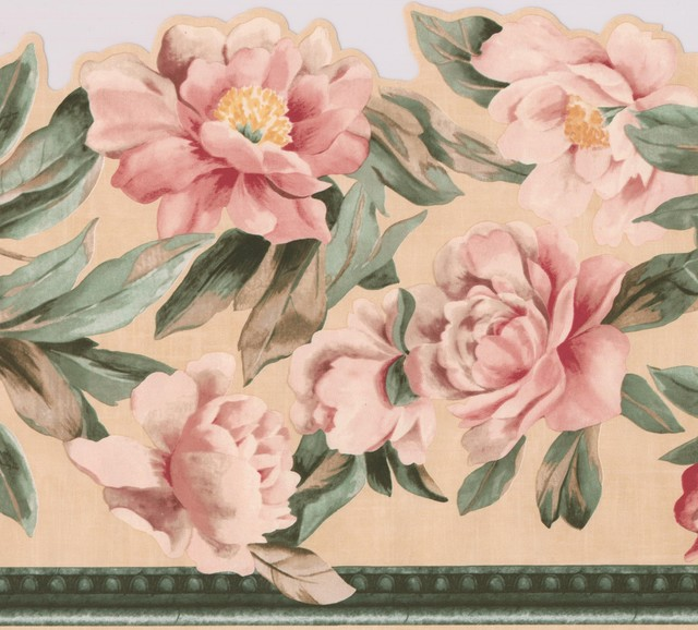 Pink Roses Green Leaves Floral Extra Wide Wallpaper Border Retro Design, Roll