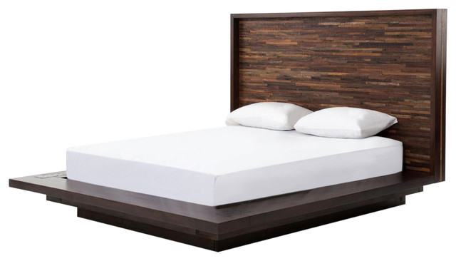 Larson modern classic variegated wood headboard platform for Classic beds for sale