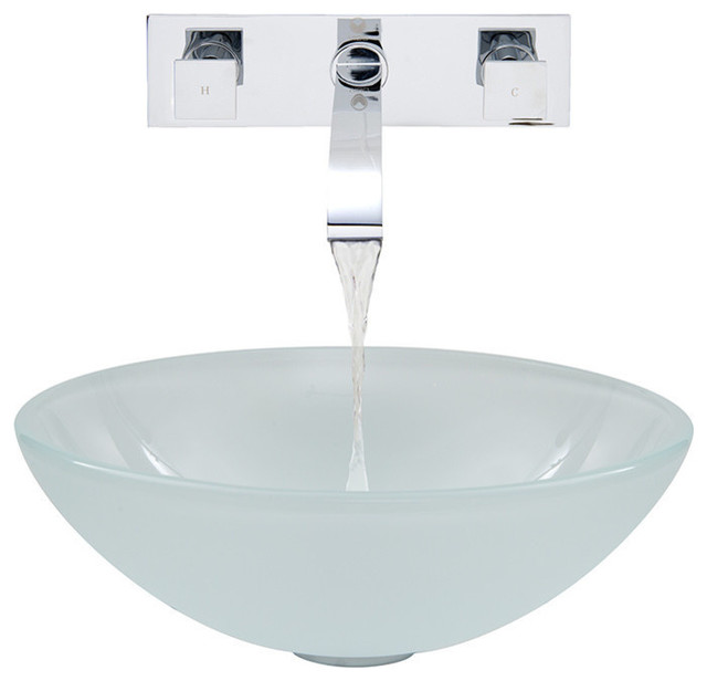 VIGO White Frost Vessel Sink and Wall Mount Faucet Set