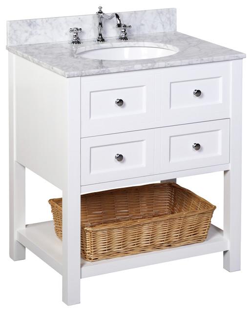 "New Yorker Bath Vanity, Base: White, Top: Carrara Marble, 30""."