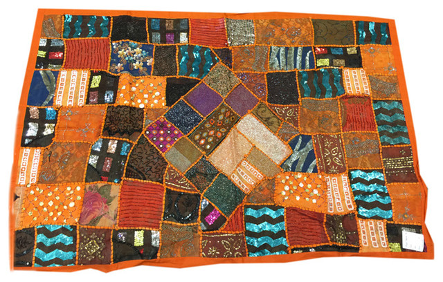 Indian Sari Tapestry Orange Wall Hanging Sequin Embroidered Wall Decor  traditional-tapestries