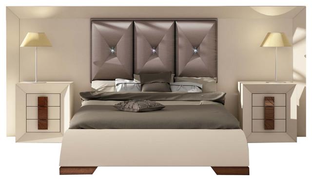 Bedroom Sets With High Headboard md karen 32 special headboard bedroom set, glossy beige cream