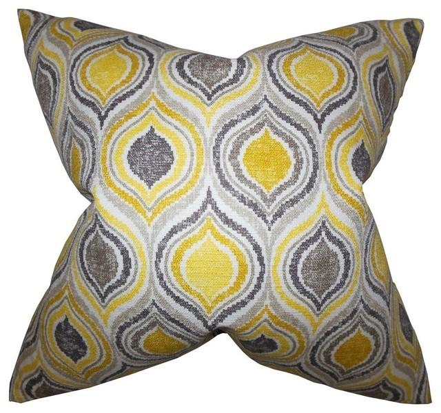 "Xylon Geometric Pillow, Yellow 18""x18""."