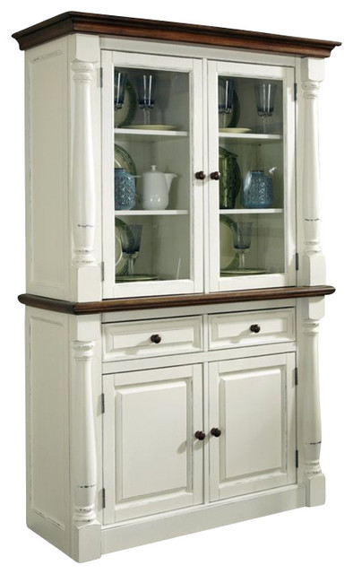 Monarch Buffet With Hutch, White and Oak - Traditional - China Cabinets And Hutches - by Homesquare
