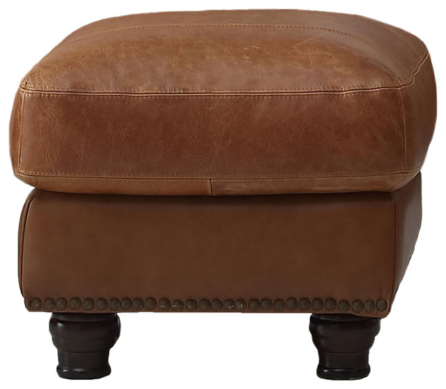 Nathan Top Grain Italian Leather Ottoman.