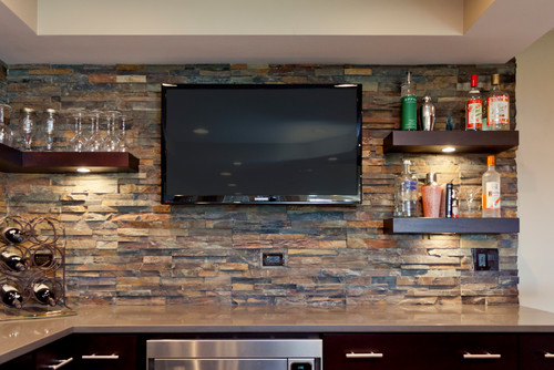 Where did you find the floating shelves with the puck lights?