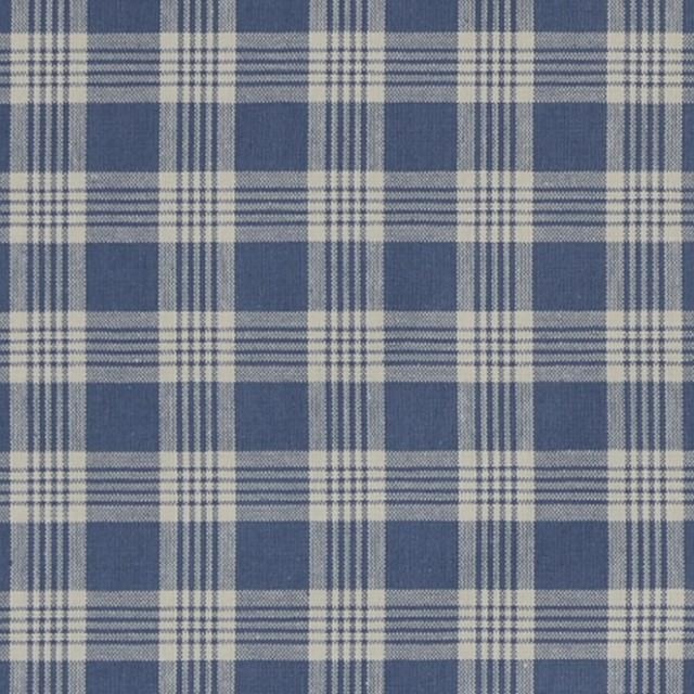 Larkspur Blue Plaid Print Upholstery Fabric Beach Style