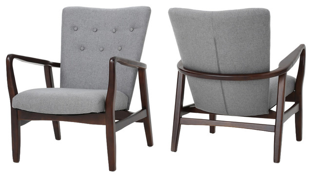Suffolk French Style Fabric Arm Chairs Set Of 2 Gray
