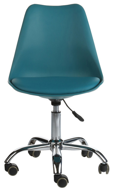 Mid-Century Modern Teal Leather Office Task Chair, Dark Teal.