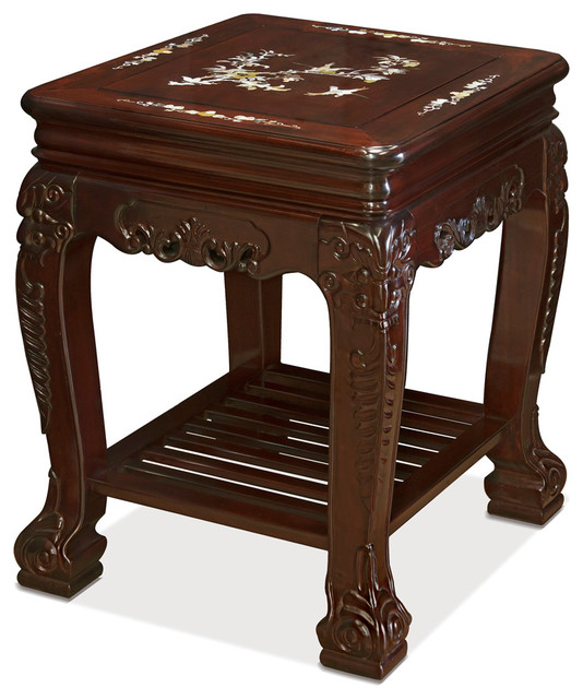 Mother Of Pearl Accent Lamp: Rosewood Mother Of Pearl Inlay Lamp Table With Shelf