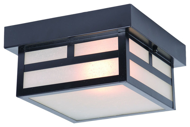 Artisan Collection Ceiling-Mount 1-Light Outdoor Light, Matte Black.