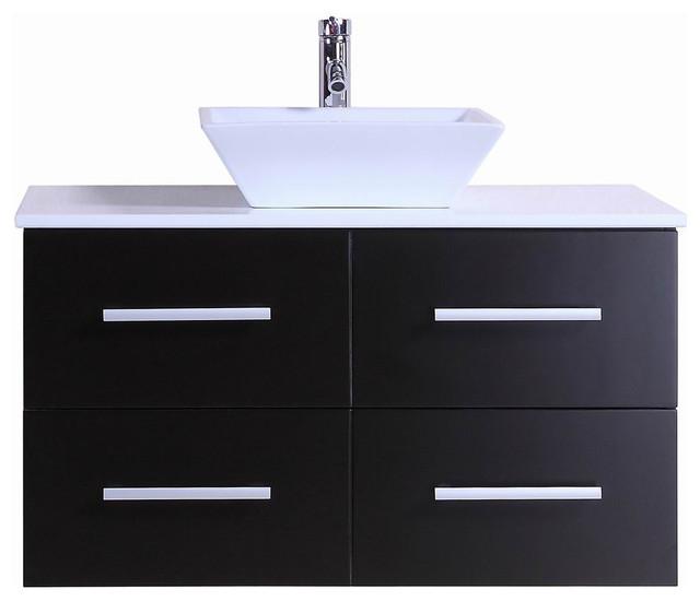 "Ballard Modern Wall-Mounted Bathroom Vanity With Stone Top, Espresso, 36""."