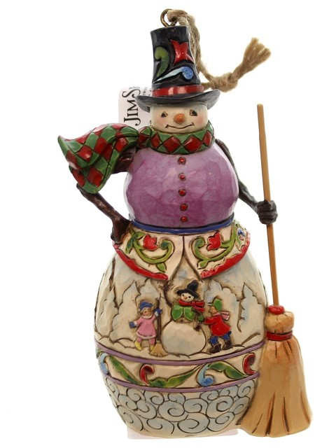 Resin Christmas Ornaments.Jim Shore Winter Scene Snowman Polyresin Resin Christmas Ornament 4047793