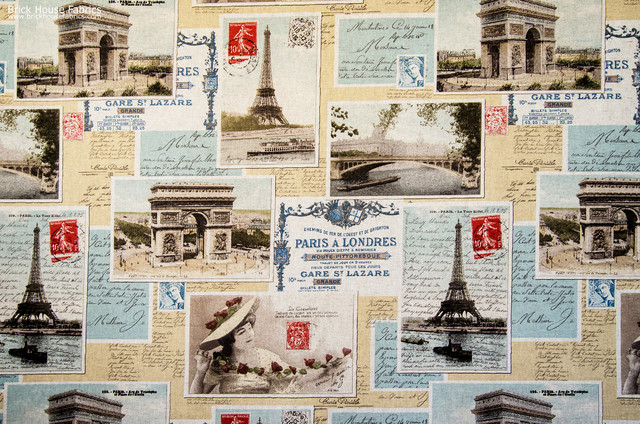 Paris postcard fabric French vintage letters documentary