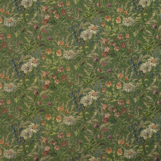 Green Burgundy And Blue Garden Floral Tapestry Upholstery Fabric By