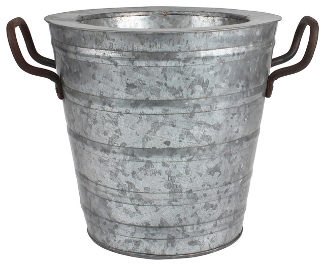 Aged galvanized ice bucket with rust metal handles for Rustic galvanized buckets