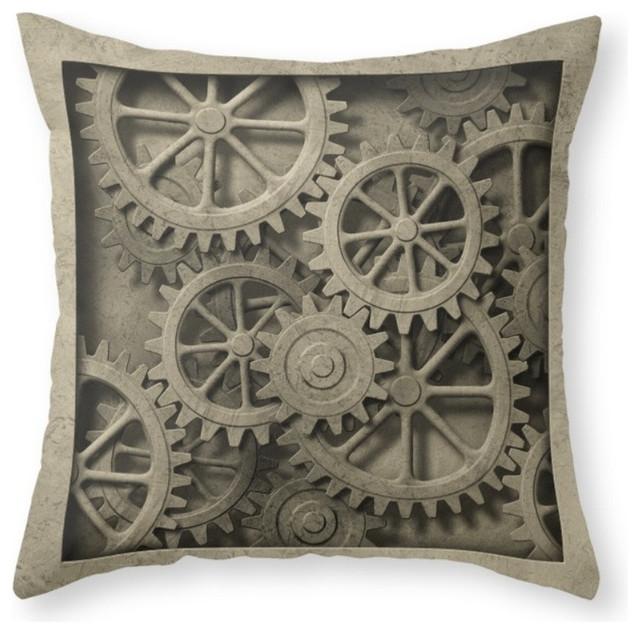 Society6 Steampunk Cogwheel Throw Pillow Contemporary