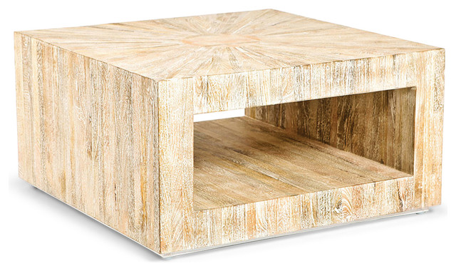 Kismet Coastal Beach Square Chunky Mango Driftwood Coffee Table