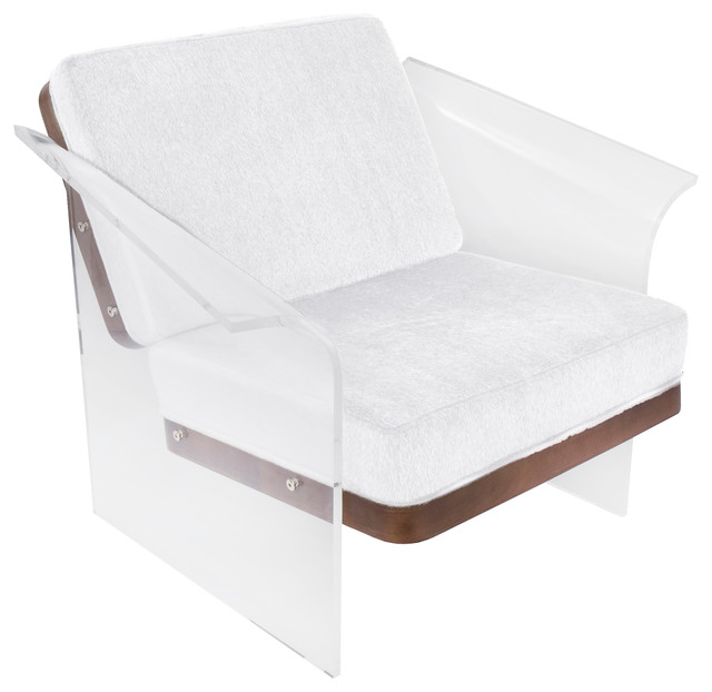 Where To Buy Fur Rug In Lagos: Float Chair, White Mohair Fabric, Walnut Wood And Clear