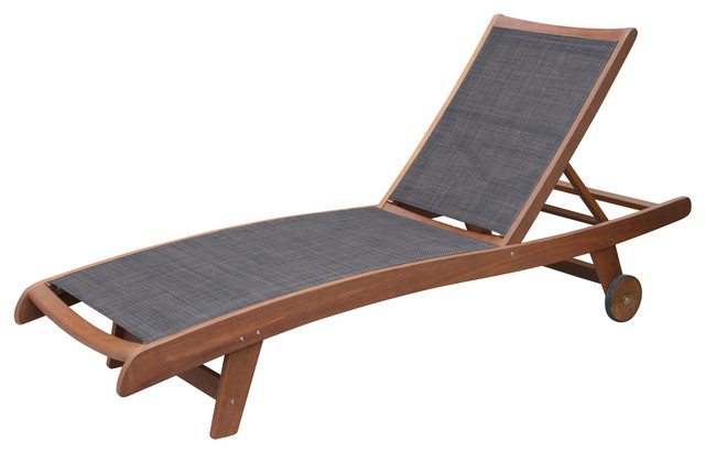Sling and eucalyptus chaise loungers set of 2 for Blue sling chaise lounge