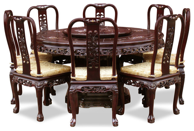 60 Rosewood Queen Ann Pearl Inlay Motif Round Dining Table With 8 Chairs