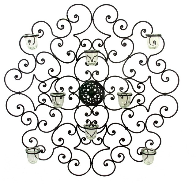"Giovani Tuscan Wrought Iron 32"" Round Wall Sconce Wall Grille Plaque."