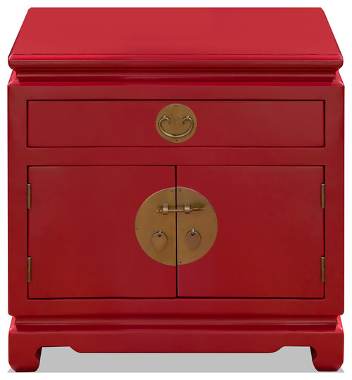 Elm Wood Chinese Ming Nightstand Cabinet, Red