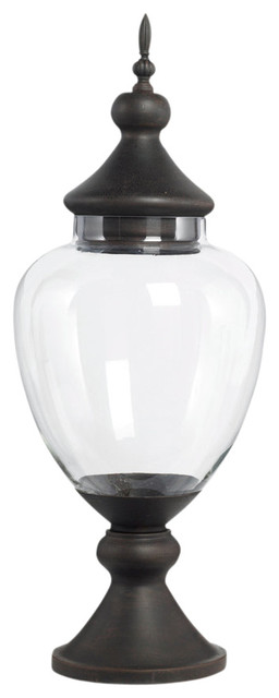Preferred Large Glass Apothecary Jar With Metal Lid and Base - Traditional  XG76