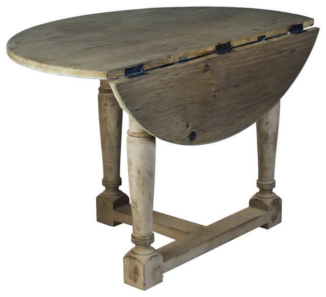 French country cottage drop leaf prague table for Round drop leaf dining table