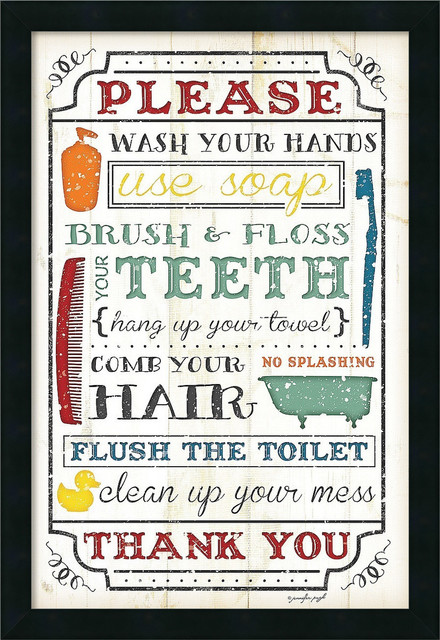 Framed Art Print 'Bathroom Rules' by Jennifer Pugh, Outer Size 18