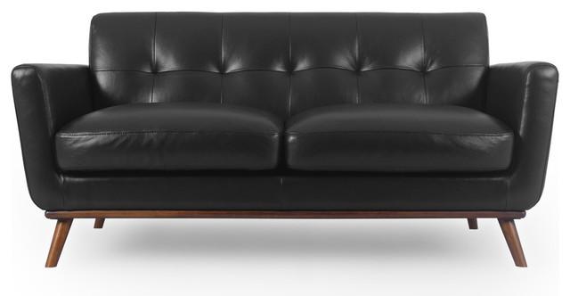 Amazing Kardiel Jackie Mid Century Modern 67 Sofa Top Grain Leather Black Cjindustries Chair Design For Home Cjindustriesco