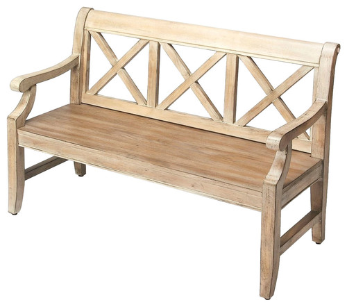 Home Decor Gerrit Driftwood Bench, Gray