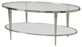 Hammary Mallory Oval Glass Top Cocktail Table In Satin