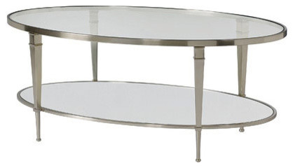 Glass Top Oval Coffee Table 4