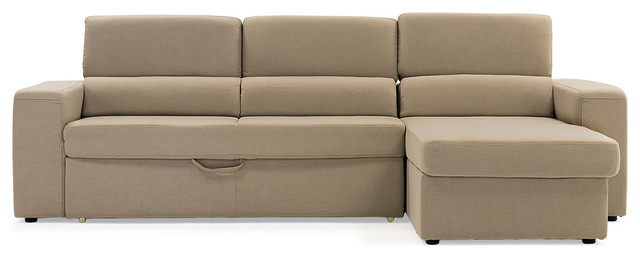 Beige Clubber Sleeper Sectional Sofa Contemporary