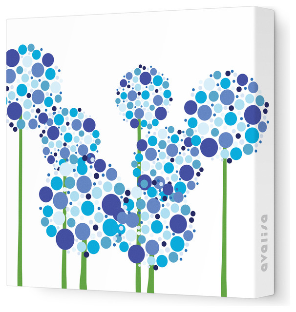 Imagination Allium Stretched Wall Art Blue