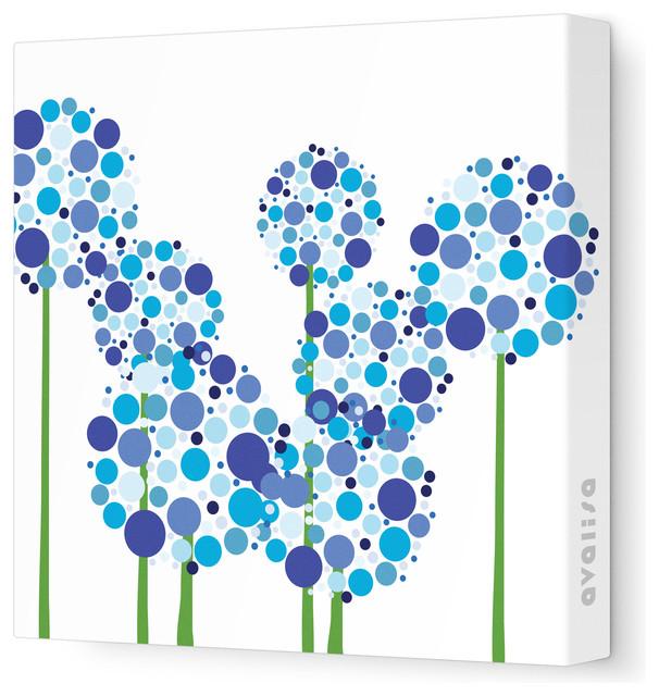 Imagination - Allium Stretched Wall Art, Blue, 12