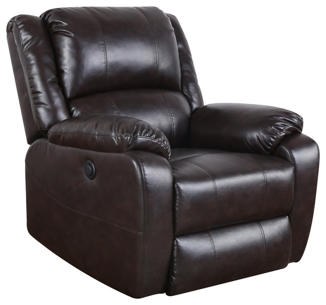 Plush Bonded Leather Electric Recliner Chair, Brown Transitional Recliner  Chairs