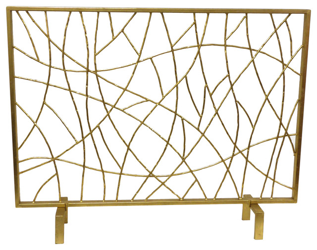 Gold twig fire screen contemporary fireplace screens by livluxe designs - Find best contemporary fireplace screen ...