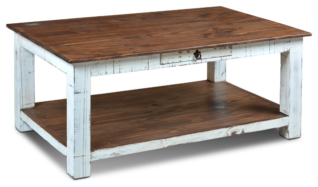 Rustic Solid Wood Distressed White 1 Drawer Coffee Table French Country Coffee Tables By Crafters And Weavers