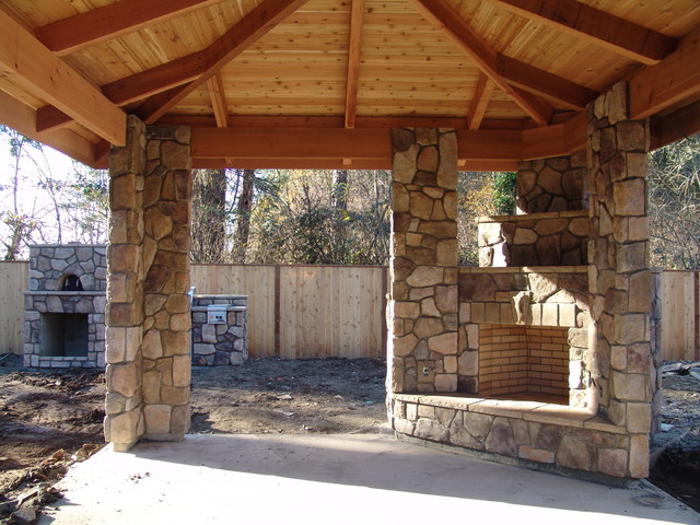 Outdoor Fireplace With Bbq Grill And Pizza Oven Portland