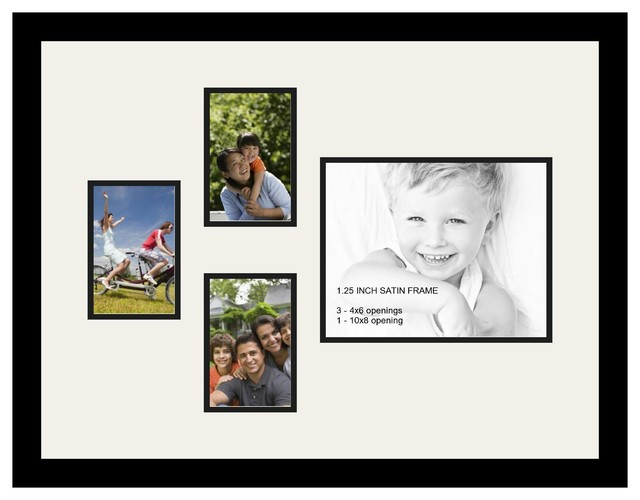 Arttoframes Collage Photo Frame With 4 Openings And Satin Black