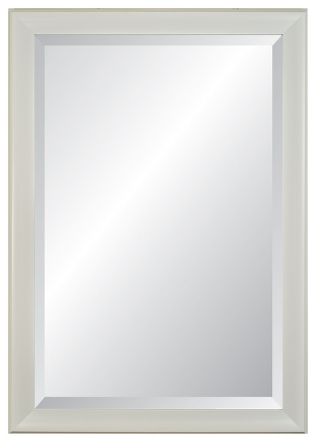 Lakeside Ii Beveled, White Framed Wall Mirror, 27 X 21.
