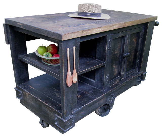 Modern Rustic Kitchen Island Cart With Walnut Stained Top Black Modern Kitchen Islands