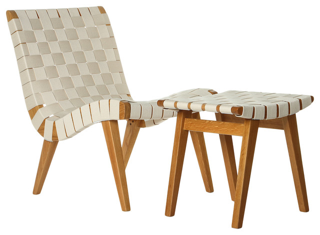 Exceptionnel Cotton Weave Lounge Chair And Ottoman