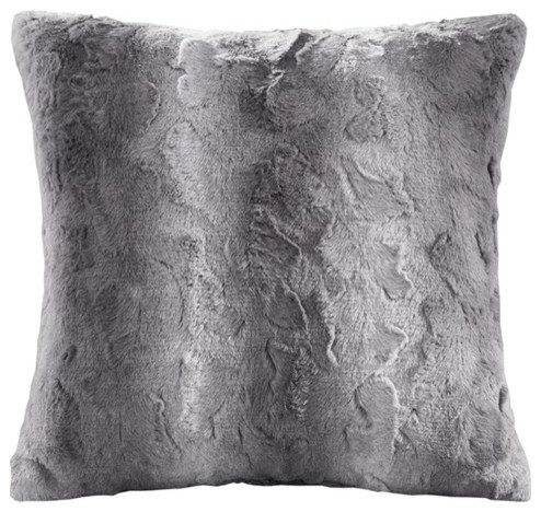 Faux Tip Dyed Brushed Long Fur Pillow With Knife Edge, Gray.