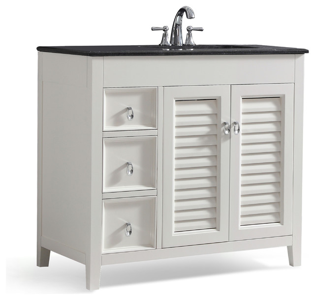 "Sweetwater Vanity, White, Right Offset, 36""."