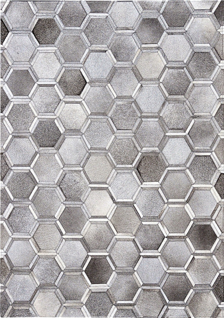 Madisons 3D Hexagon Pattern, Cowhide Patchwork, Area Rug, Gray, 4\'x6